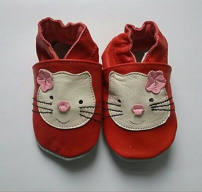 Red cats, Soft Leather Baby and Toddler Shoes with non slip Suede Soles