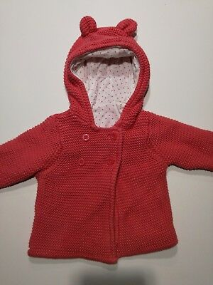 Girls 3-6 Months Pink Coral M&S Cardigan Coat