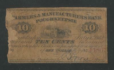 City of Poughkeepsie New York Scrip - Ten (10) Cents -July 1, 1862