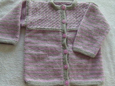 GIRLS HAND KNITTED CARDIGAN 12- 18 MONTHS+ - pink and grey - reduced