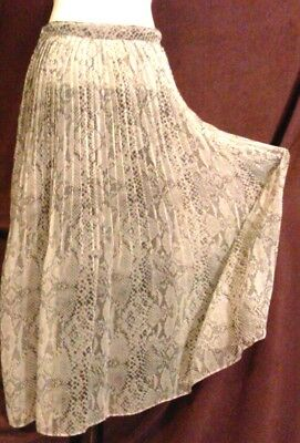 Vintage 'Express 1987 Collection' Snakeskin Print Chiffon Pleated Flair Skirt