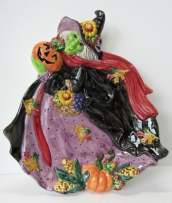 1995 HALLOWEEN HARVEST WITCH PLATE By Fitz & Floyd ~ Perfect Condition!