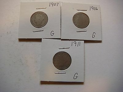 Lot of 3 Liberty Head Nickel - five cent Coins 1906,1907,1911 Nice coins #9612
