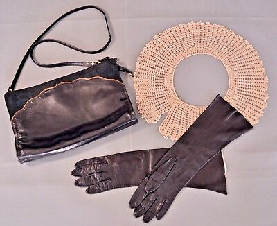 Vintage Cosplay Steampunk Lot Black Leather Purse / Kid Gloves / Crochet Collar