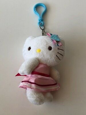 HELLO KITTY Plush Key Chain Wearing Pink Dress and Blue Heart Bow SANRIO Rare
