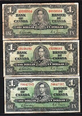 "Canada - 1937 Bank of Canada 3X1 Dollar Banknote P58d Good/VG ""King George VI"""