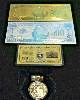 ☆5~Pc.LOT~2 U.S $500 BANKNOTE REPS.* 1 GOLD& 1 SILVER+TINY SILVER BAR+COIN&FLAKE