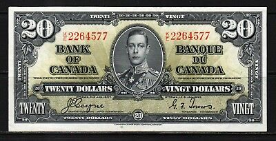 "Canada - 1937 Bank of Canada 20 Dollars Banknote P62c XF ""King George VI"""