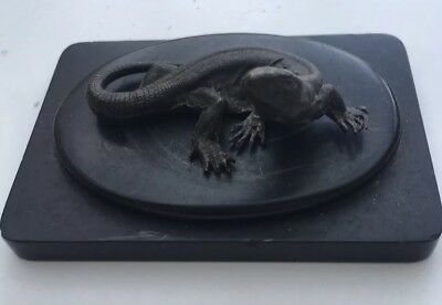 Interesting Antique Bronze Lizard On Bronze Base - Intricate Modelling