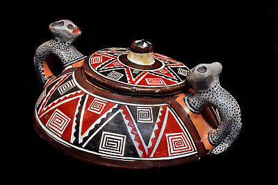 Native American Authentic Hand Made Hand Painted Signed Ceramic Pot