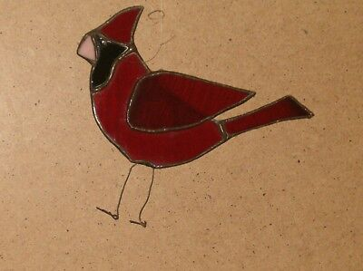 """Vintage Lead Stained Glass 5.5"""" Long Bird Red Black,Pink Suncatcher"""