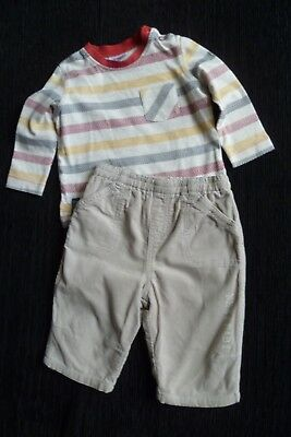 Baby clothes BOY 3-6m outfit NEXT beige cord lined trousers/F&F LS top SEE SHOP!