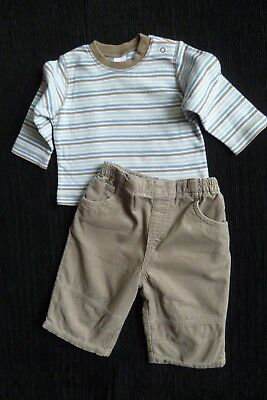 Baby clothes BOY 3-6m outfit NEXT beige cord lined trousers/LS top SEE SHOP!