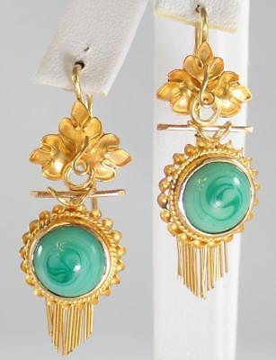 Stunning Antique Victorian 18K Gold Malachite Glass Bead Floral Tassel Earrings