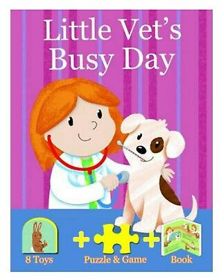Little Vet's Busy Day Book, Puzzle & Game + 8 Toys * New *
