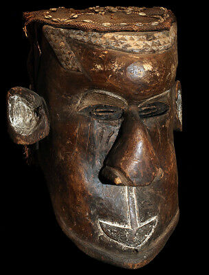 """Antique Authentic African """"Kuba"""" Hand Carved + Decorated Helmet Mask; 1880!"""