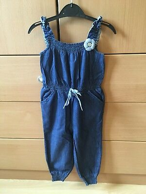 Girls All In One Soft Denim Jumpsuit Aged 9-12months