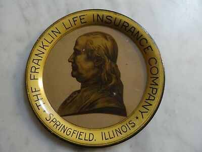 Vintage Franklin Life Insurance Co Advertising Tip Tray Springfield Illinois IL
