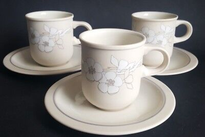 Vintage Hornsea 'Bouquet' Coffee Cups & Saucers x 3,Designed by Martin hunt 1983