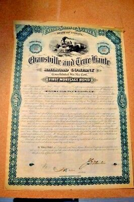Evansville & Terre Haute Railroad 1881 First Mortage Bond With all coupons 174