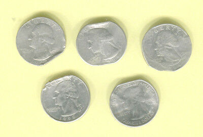 5 QUARTERS with RAGGED CLIP or EDGE Date 1983-P, 1986-P, 1989-?, 1998-D, 2012-P