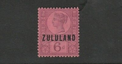 Zululand - Queen Victoria -  SG 8 - 6d Purple/Rose Red -  Mounted MINT