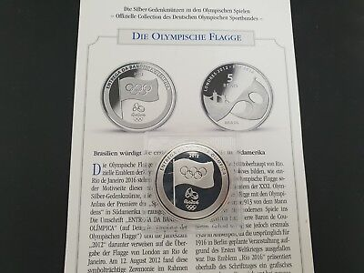 Brasilien 5 Reais Silber Olympische Flagge 2012, Brazil Olympic Flag Silver Coin