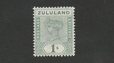 Zululand - Queen Victoria -  SG 25 - 1 Shilling Green - Fine Mounted MINT.