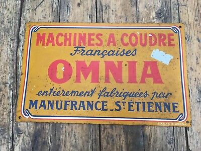Rare Metal Vintage French Sewing Sign