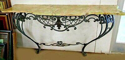 "Antique French Rococo Style Scrolled Iron Console W61"" Marble Onyx Attaches Wall"