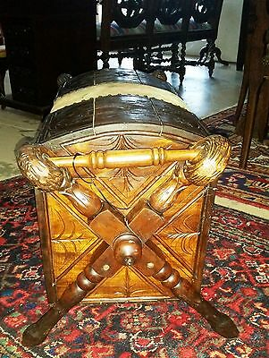 """Antique French Wood Carved Trunk Wood Screws Ram's Horns  Feet  L29"""" H 17"""" W13"""""""