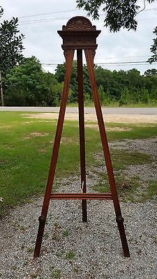 Huge  Antique French Walnut Easel 9ft 1.5'' tall Carved Crown & Rosettes 1800's