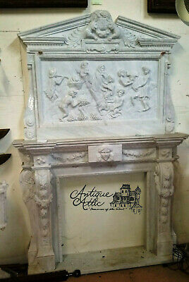 """White Marble Fireplace H 8 ft 7 in x W 71""""  Traditional Style"""