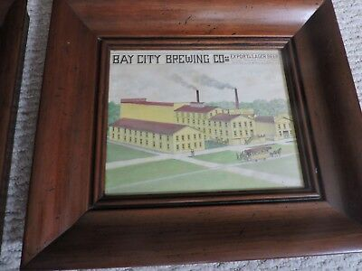 ANTIQUE FRAMED 19th CENTURY WATERCOLOR ON PAPER PAINTING BAY CITY BREWING CO.
