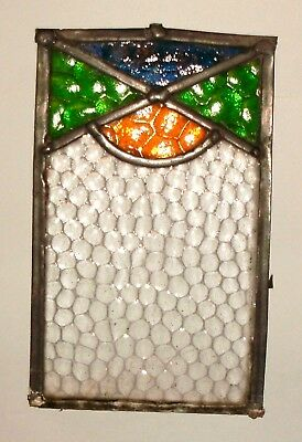 "Bubble Glass Clear & Coloured Panel From An Antique Leaded Window    8 1/2"" X 5"""