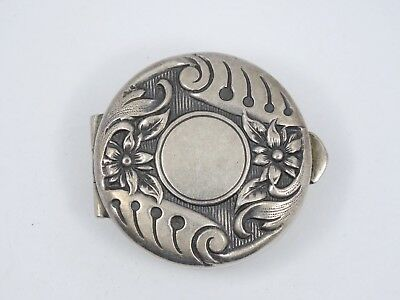Antique Edwardian Sterling Silver Pill Box ~ 1.25""