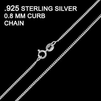 .925 Sterling Silver 0.8mm Fine Curb Chain Necklace various lengths