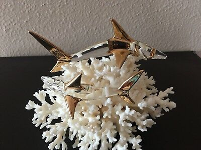 Hand Crafted (2) Glass Sharks W/ Gold Fins Mounted On Real Coral, Pristine!!