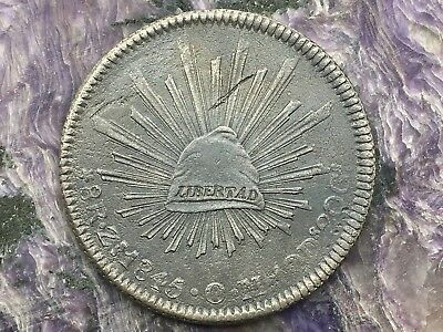 REPUBLIC OF MEXICO 8 REALES SILVER 1845 Zs OM ZACATECAS MINT