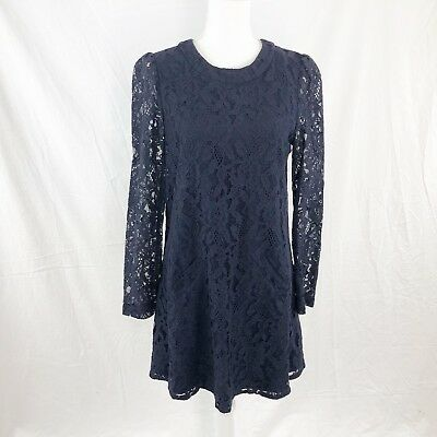 26b9f3a6fa Anthropologie Michael Stars Womens Blue ONE Size Lace Pocketed Shift Mini  Dress