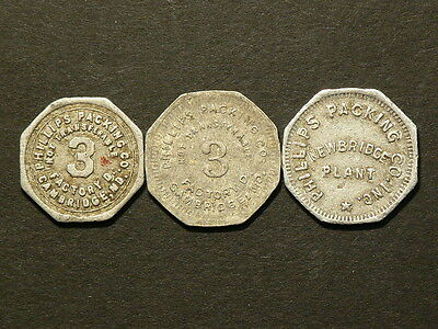 USA  Cambrigde  Newbridge  Lot Of 3 Different Tokens Packing Factory   #G5803