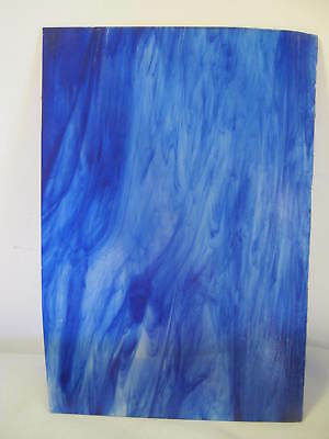 """Vintage Stained, Stain Glass Piece, Sheet, Cobalt Blue Swirl,  17 1/4"""" x 11 1/2"""""""