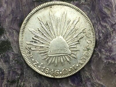REPUBLIC OF MEXICO 8 REALES SILVER 1846 Zs OM ZACATECAS MINT