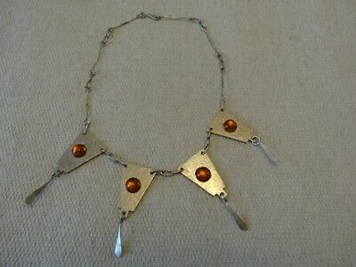 Vintage jewellery Art Deco Amber Cabachon Glass Necklace
