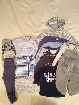 F&F Boys Blue Bundle Tops, All In Ones,Swinging Shorts, Vest Size 3-6 Months