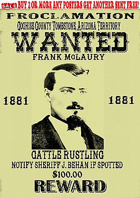 Frank Mclaury Old West Western Wanted Poster Tombstone Outlaw Doc Reward Corral
