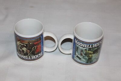 Maxwell House Coffee Cups Set of 2 (Firehouse/Shoveling Snow)