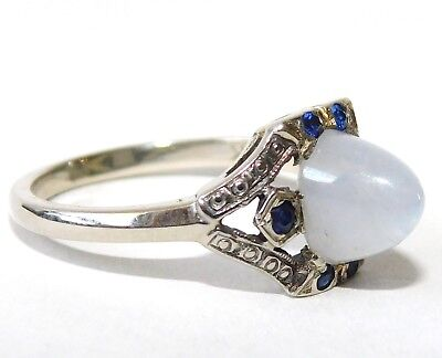 Antique Art Deco 14K White Gold MOONSTONE or Lavender Sapphire Ring~Bullet Shape