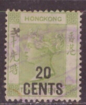 1891 British colony in China stamps, Hong Kong QV 20c on 30c used, CCA SG48