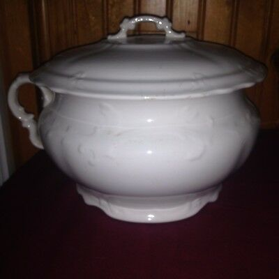 Antique 1870's CHAMBER POT w/  Lid K T & K Knowles Taylor CALIFORNIA Ironstone